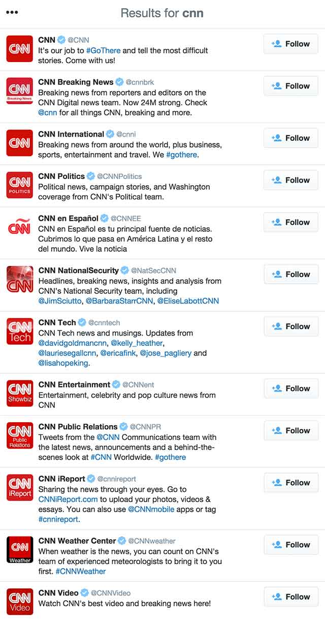 CNN Twitter Accounts