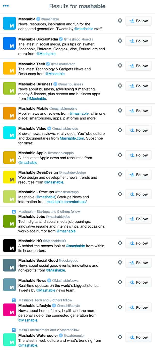 Mashable Twitter Accounts